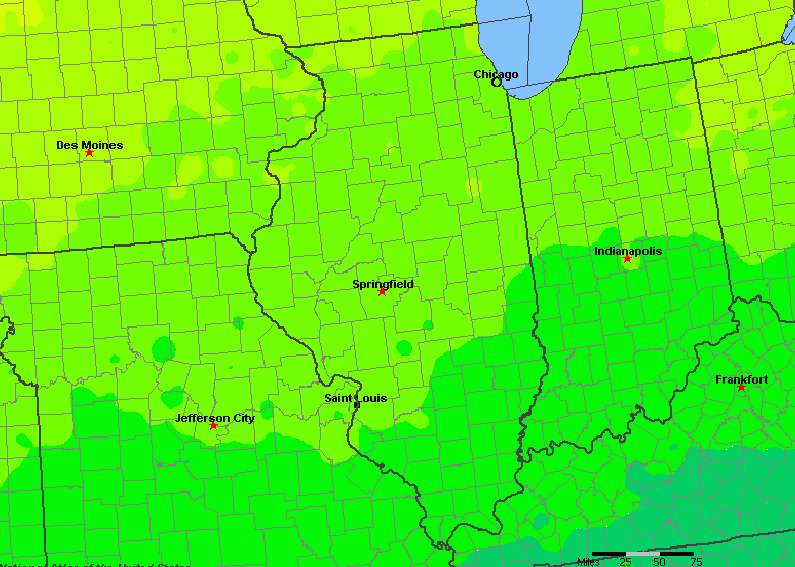 The State of Illinois Yearly Average Precipitation