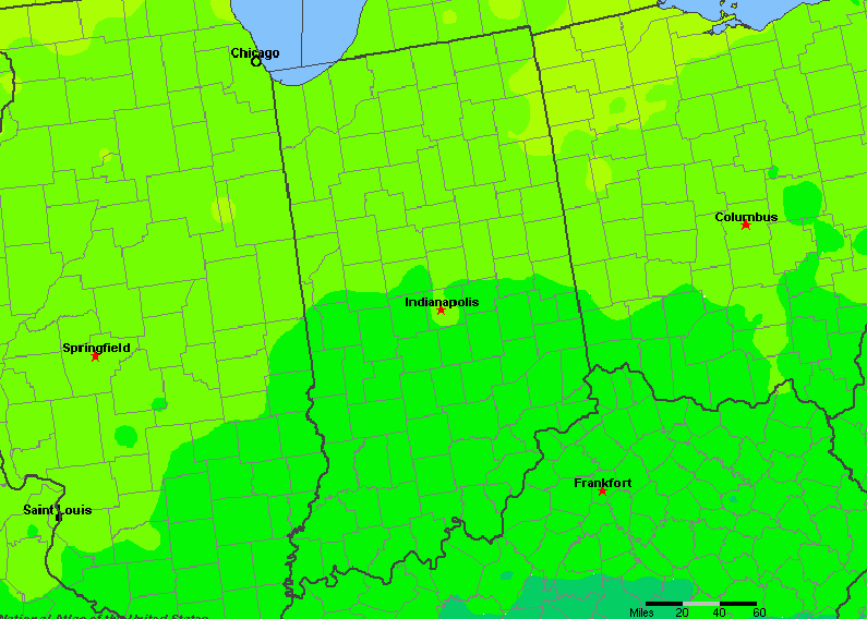 The State of Indiana Yearly Average Precipitation