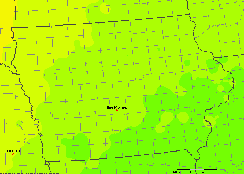The State of Iowa Yearly Average Precipitation
