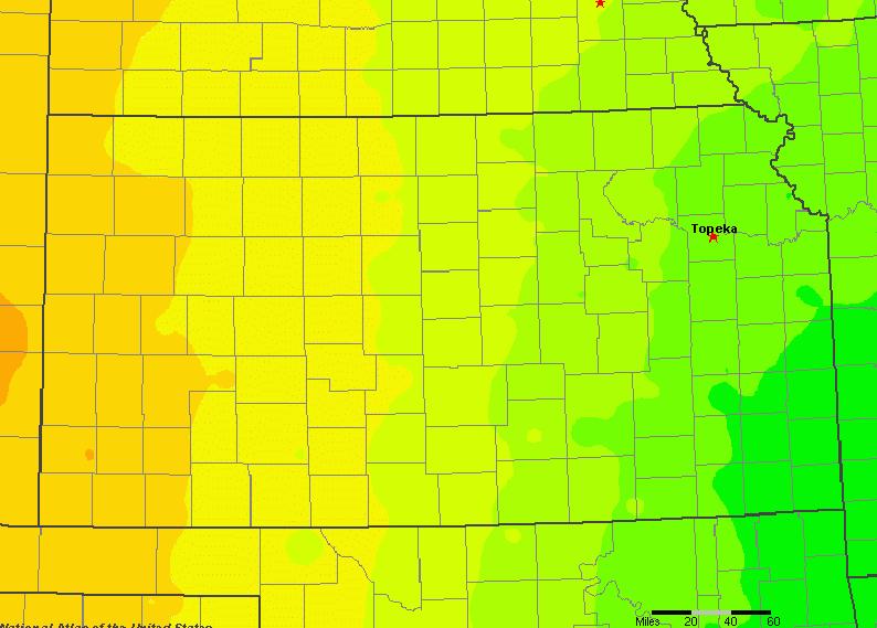 The State of Kansas Yearly Average Precipitation