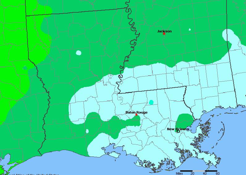 The State of Louisiana Yearly Average Precipitation