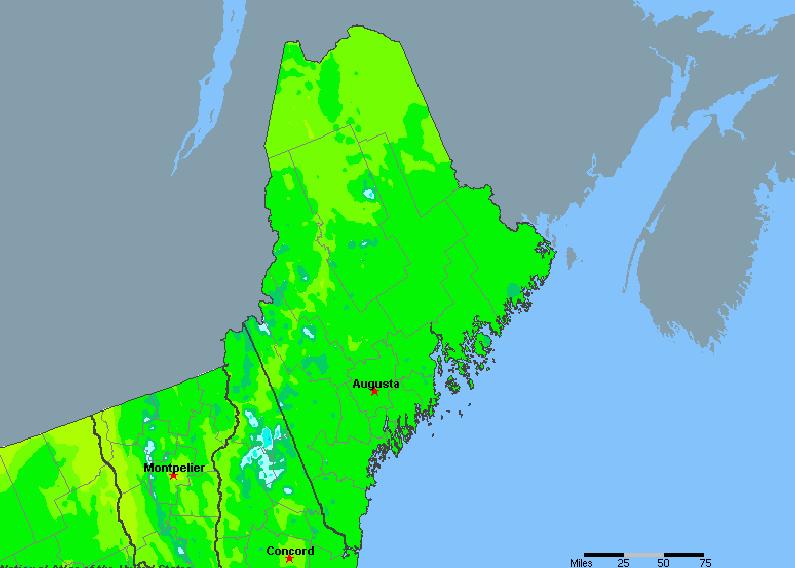 The State of Maine Yearly Average Precipitation