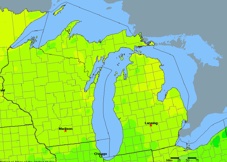 The State of Michigan Yearly Average Precipitation