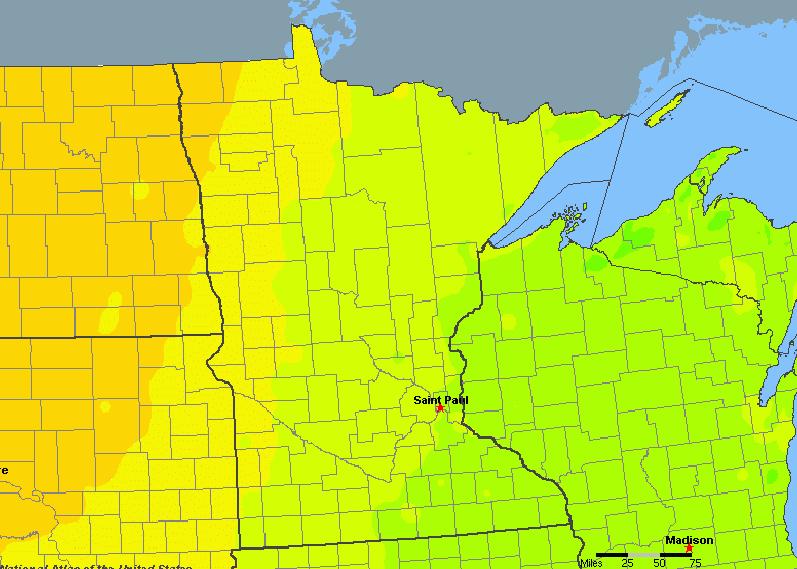 The State of Minnesota Yearly Average Precipitation