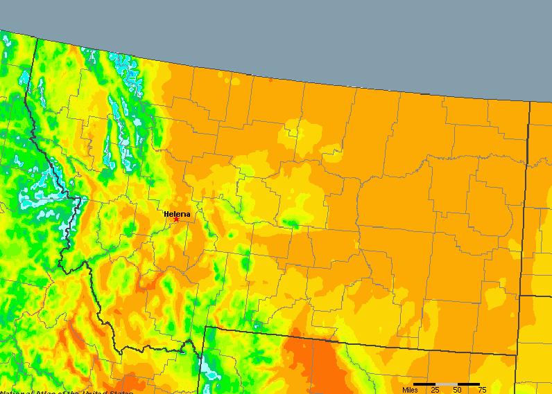 The State of Montana Yearly Average Precipitation
