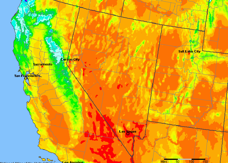 Nevada Rainfall Map Nevada, United States Average Annual Yearly Climate for Rainfall
