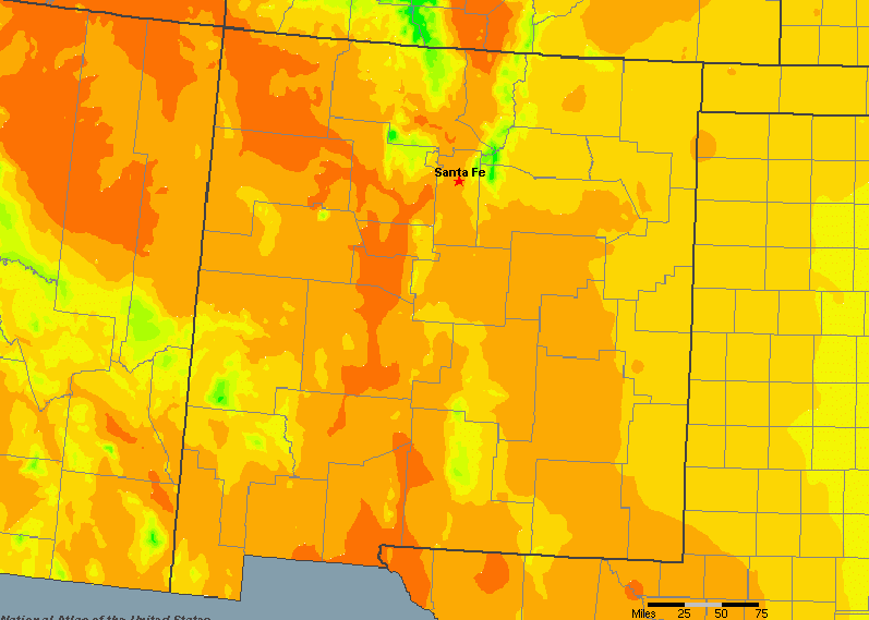 The State of New Mexico Yearly Average Precipitation