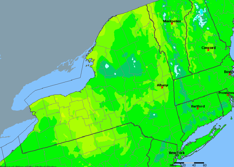 The State of New York Yearly Average Precipitation