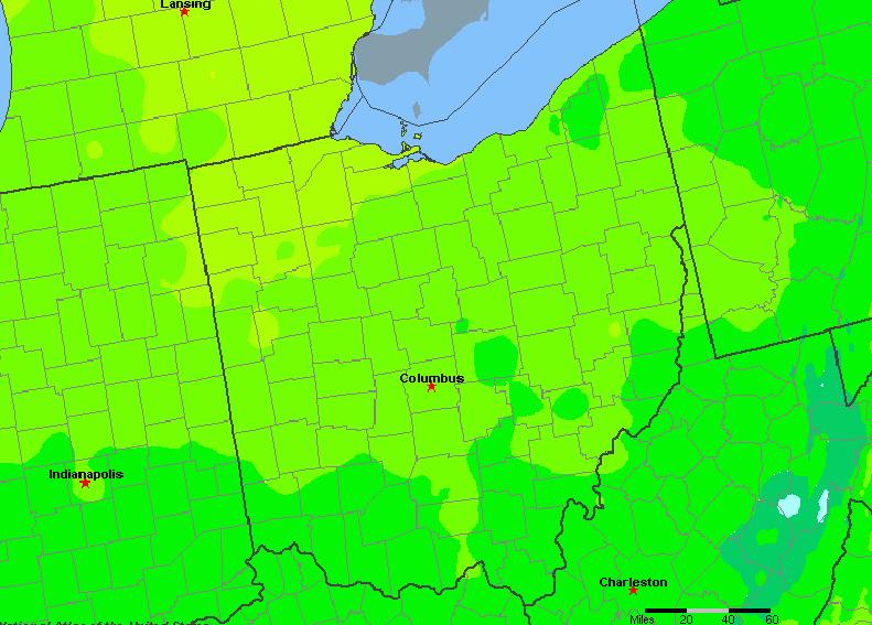 The State of Ohio Yearly Average Precipitation