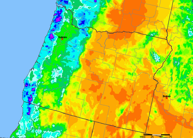 The State of Oregon Yearly Average Precipitation