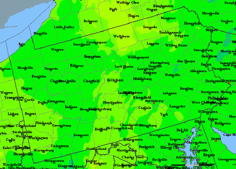 The State of Pennsylvania Yearly Average Precipitation