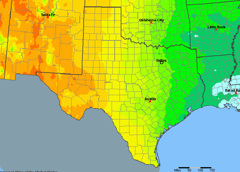 Rainfall Map Of Texas Texas, United States Average Annual Yearly Climate for Rainfall