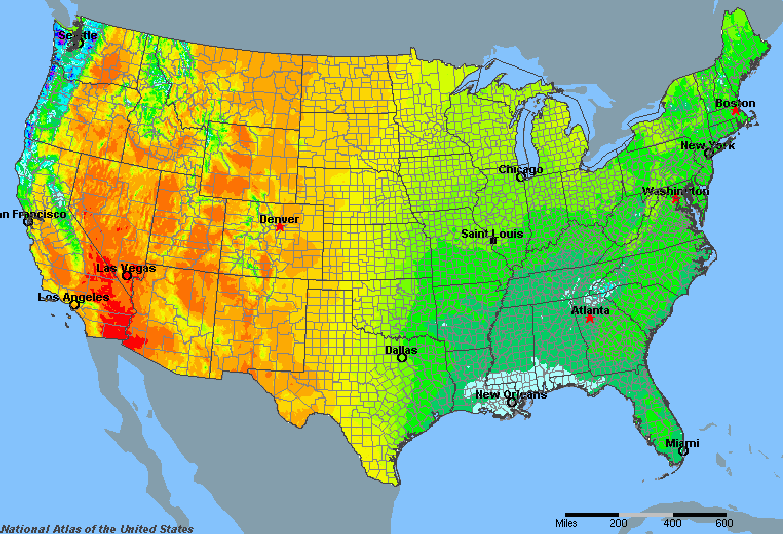 United States Average Annual Yearly Climate for Rainfall