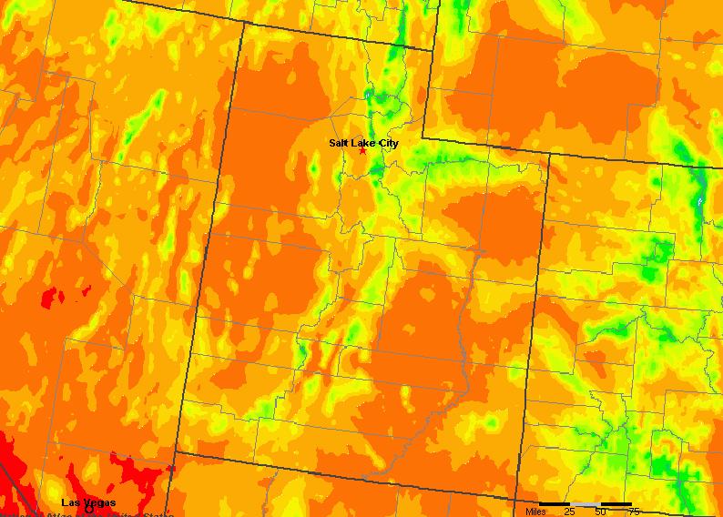 The State of Utah Yearly Average Precipitation