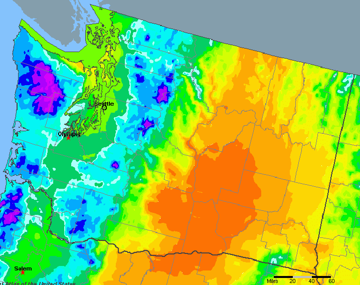 Washington United States Average Annual Yearly Climate For Rainfall - Rainfall-map-us