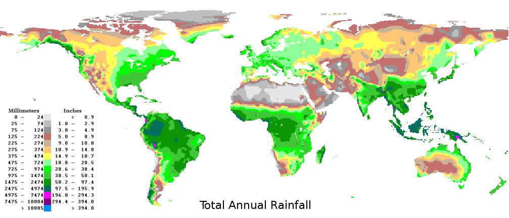 Precipitation World Map.World Average Yearly Annual Precipitation