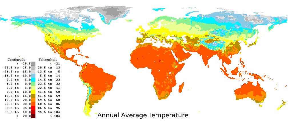 World Average Yearly Annual Temperatures
