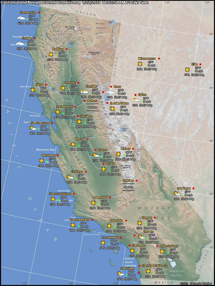 California and Nevada Live Current Weather Conditions Meso Map