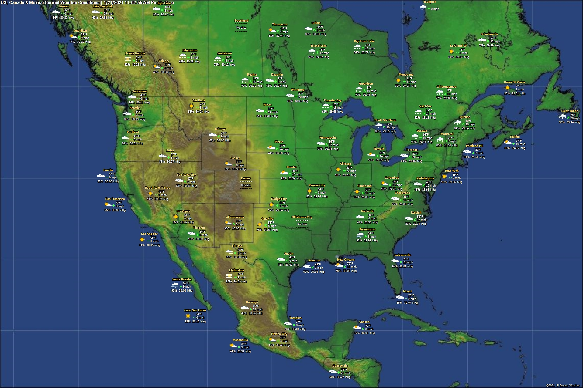 United States Canada Mexico Current Weather Conditions - Current weather map eastern us