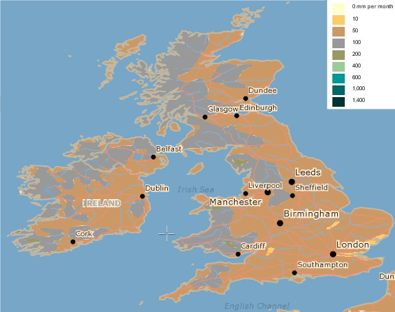 Average British Isles July Rainfall