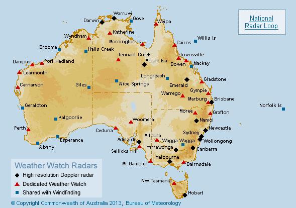 Central Coast Australia Map.Clickable 512 Km Radar Station Map Of Australia