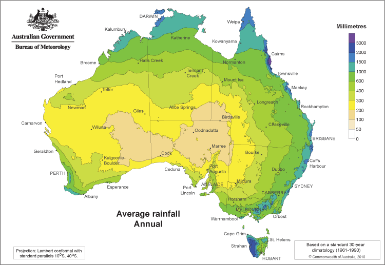 Precipitation World Map.Australia Average Annual Precipitation Climate Map With Color Coded