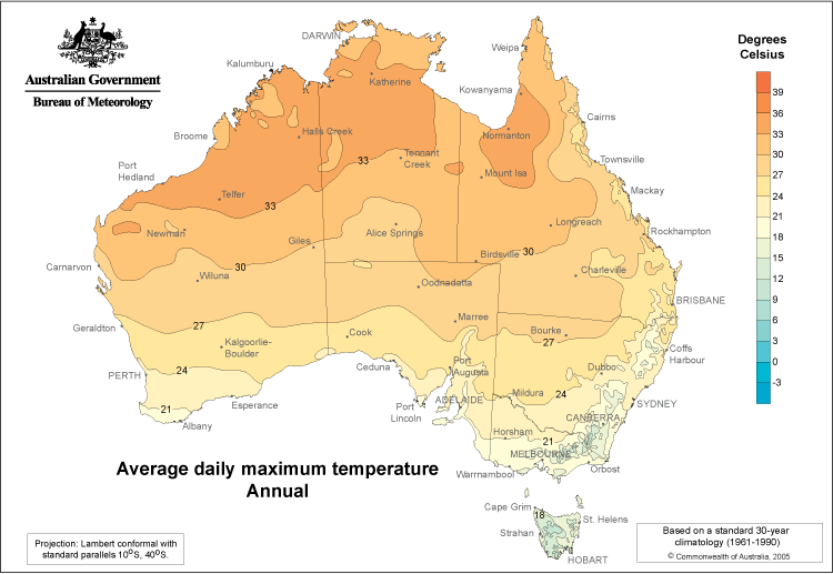 Australia Daily Maximum Temperatures