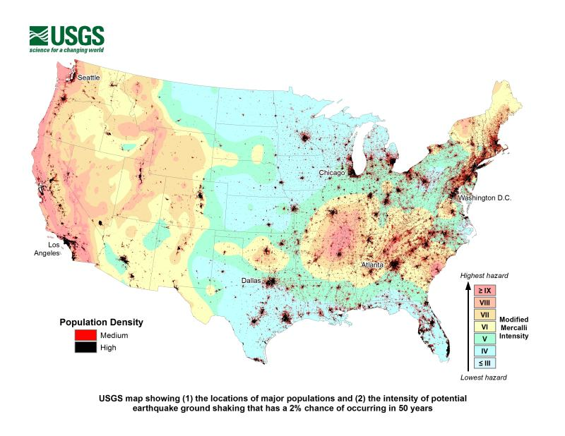 U.S. Potential of Earthquake Intensity for the Population with 2% Chance in 50 Years